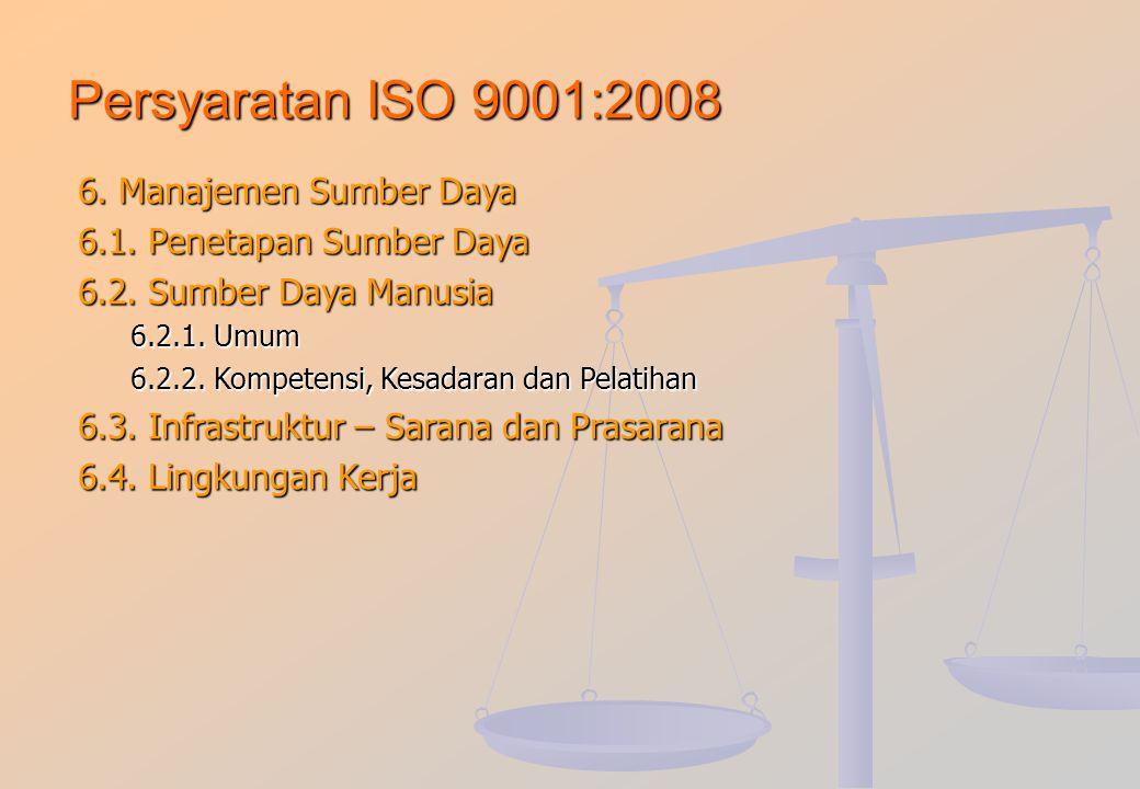 Persyaratan ISO 9001:2008 6. Manajemen Sumber Daya