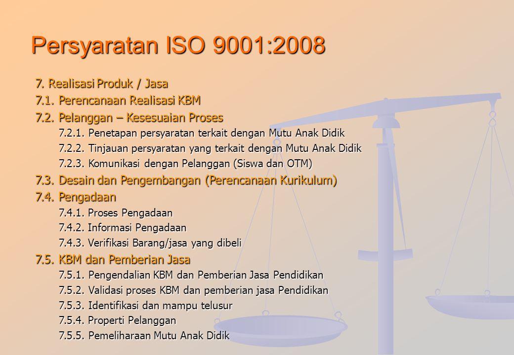 Persyaratan ISO 9001:2008 7. Realisasi Produk / Jasa