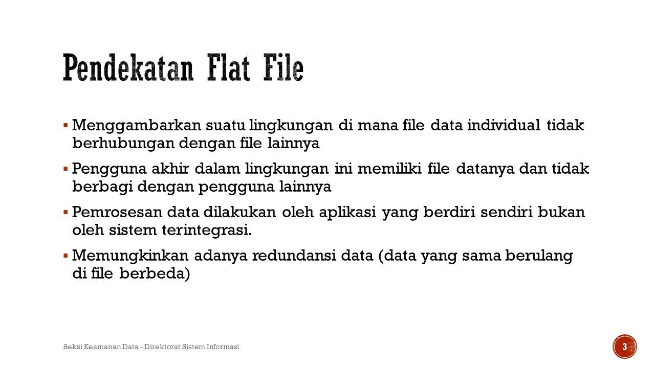 Pendekatan Flat File Menggambarkan suatu lingkungan di mana file data individual tidak berhubungan dengan file lainnya.