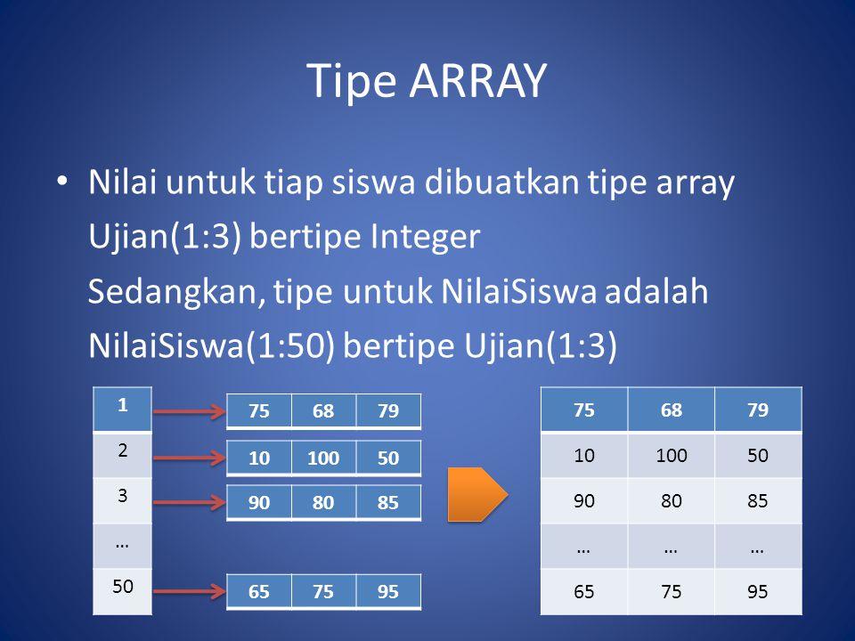 Tipe ARRAY Nilai untuk tiap siswa dibuatkan tipe array