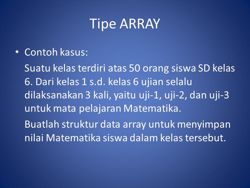 Tipe ARRAY Contoh kasus: