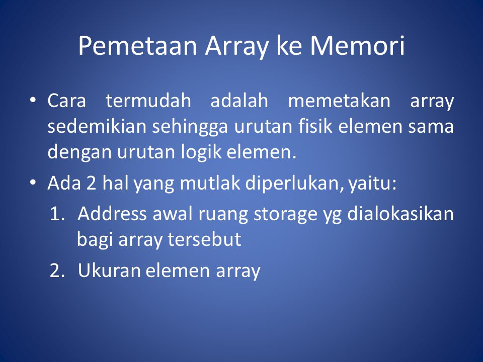 Pemetaan Array ke Memori