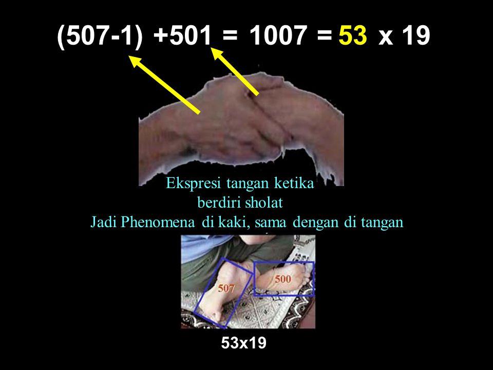 (507-1) +501 = 1007 = x 19 53 Ekspresi tangan ketika berdiri sholat