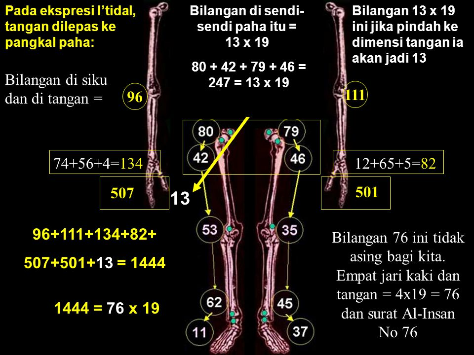 Bilangan di sendi-sendi paha itu = 13 x 19
