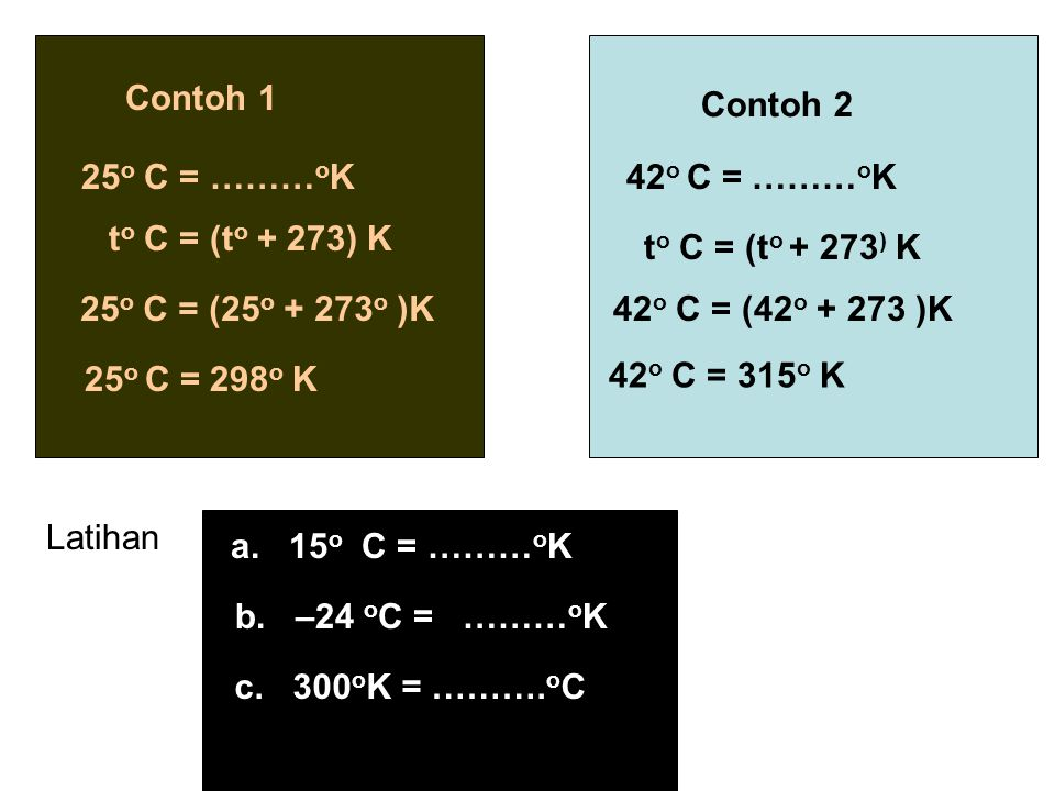 Contoh 1 Contoh 2. 25o C = ………oK. 42o C = ………oK. to C = (to + 273) K. to C = (to + 273) K. 25o C = (25o + 273o )K.