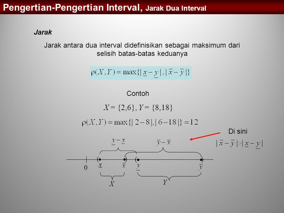 Pengertian-Pengertian Interval, Jarak Dua Interval