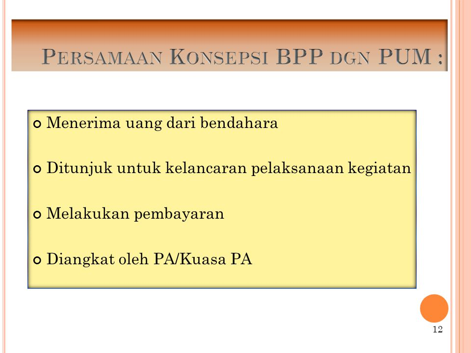 Persamaan Konsepsi BPP dgn PUM :