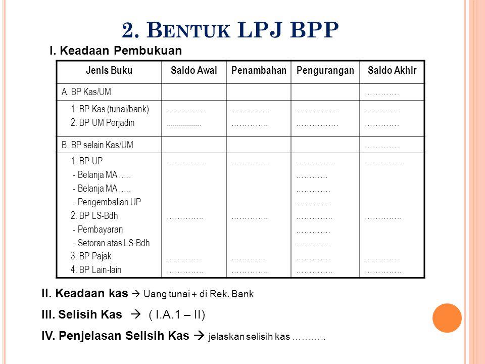 2. Bentuk LPJ BPP I. Keadaan Pembukuan