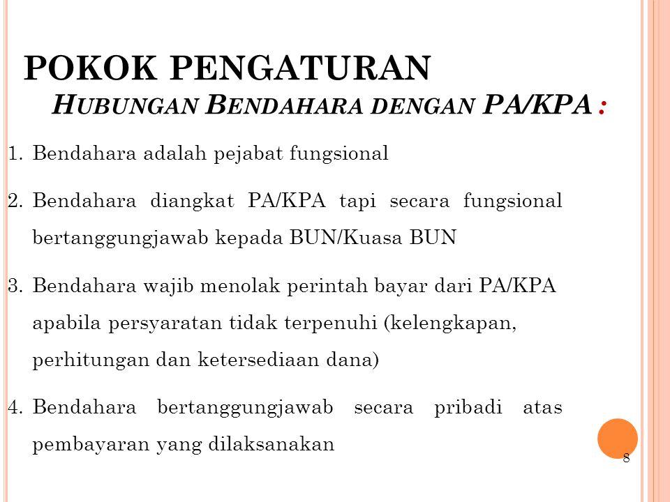 POKOK PENGATURAN Hubungan Bendahara dengan PA/KPA :
