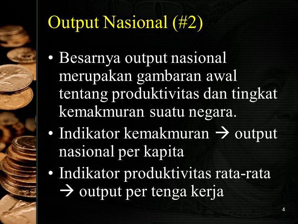 Output Nasional (#2) Besarnya output nasional merupakan gambaran awal tentang produktivitas dan tingkat kemakmuran suatu negara.