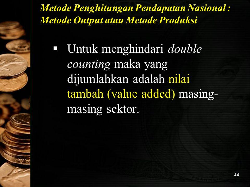Metode Penghitungan Pendapatan Nasional : Metode Output atau Metode Produksi