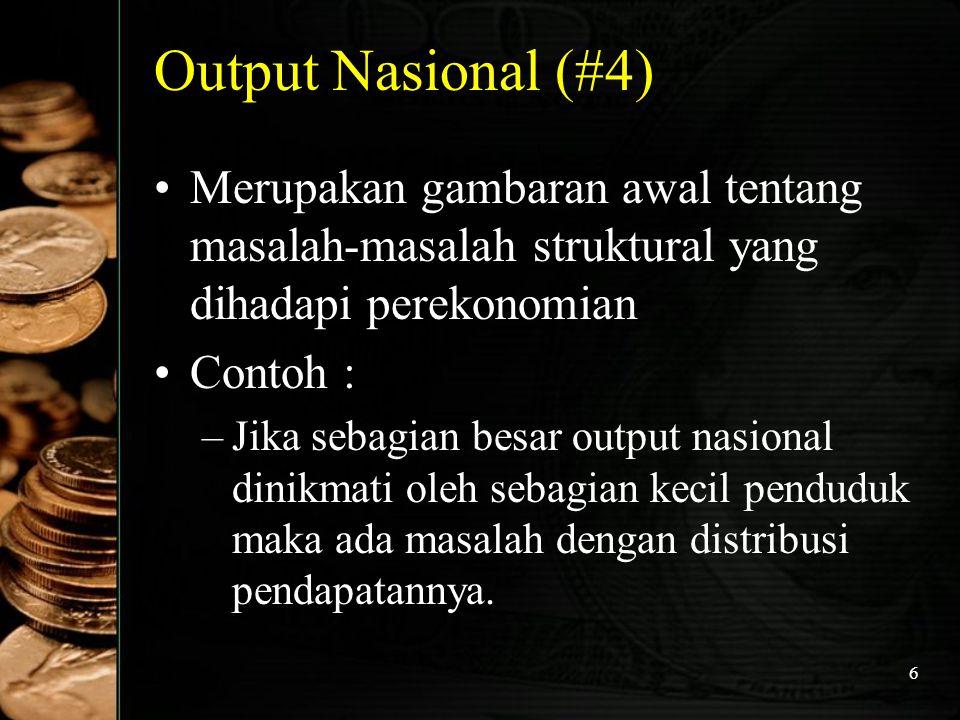 Output Nasional (#4) Merupakan gambaran awal tentang masalah-masalah struktural yang dihadapi perekonomian.