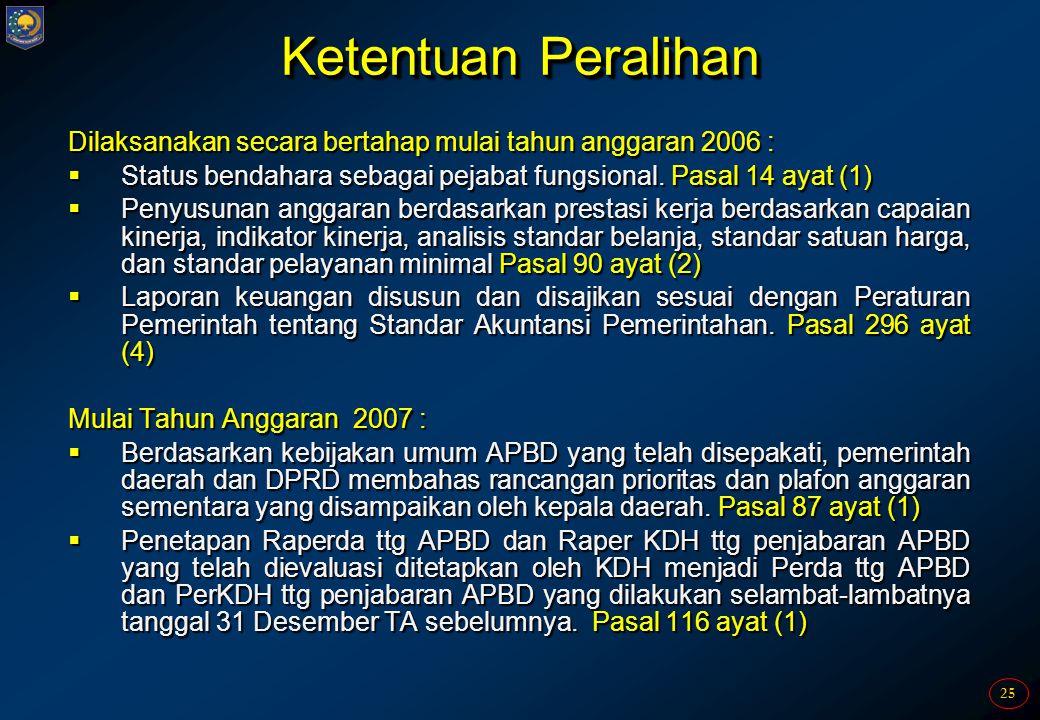 Ketentuan Peralihan Dilaksanakan secara bertahap mulai tahun anggaran 2006 : Status bendahara sebagai pejabat fungsional. Pasal 14 ayat (1)
