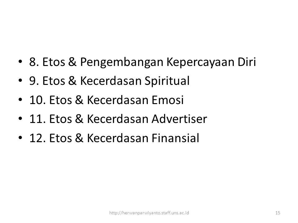 8. Etos & Pengembangan Kepercayaan Diri 9. Etos & Kecerdasan Spiritual
