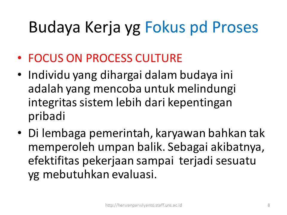 Budaya Kerja yg Fokus pd Proses