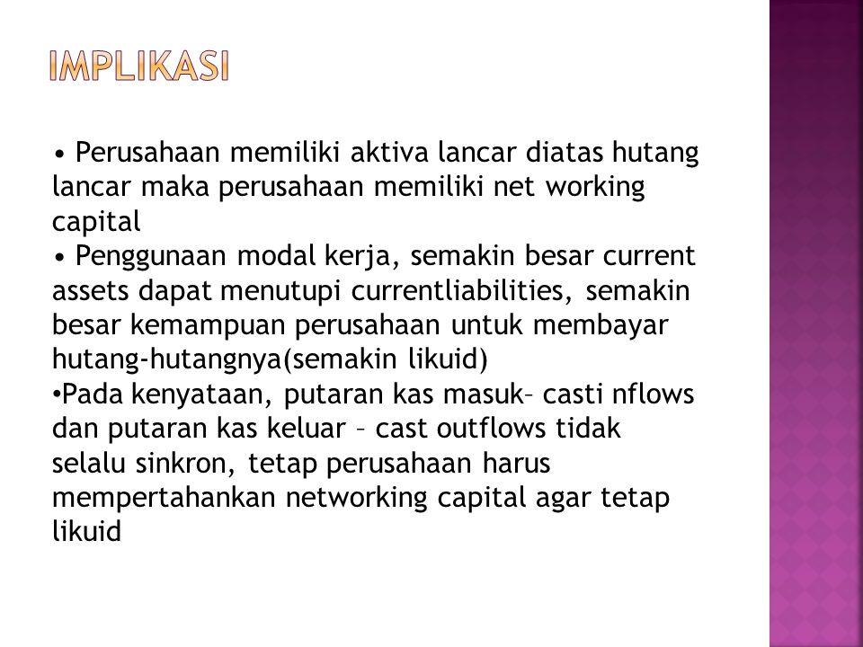 Implikasi • Perusahaan memiliki aktiva lancar diatas hutang lancar maka perusahaan memiliki net working capital.