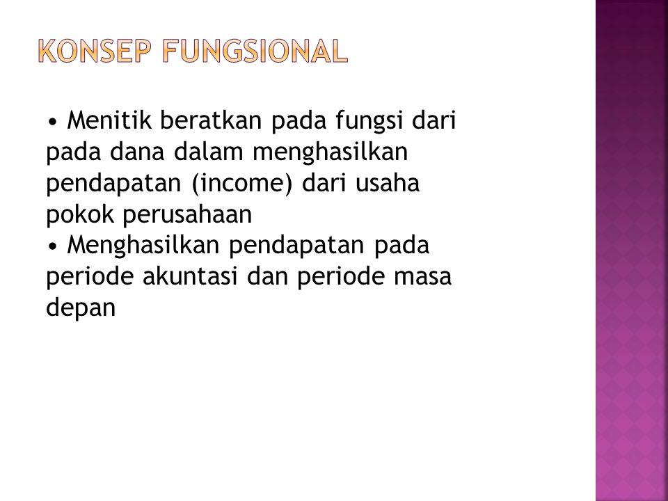 Konsep Fungsional • Menitik beratkan pada fungsi dari pada dana dalam menghasilkan pendapatan (income) dari usaha pokok perusahaan.