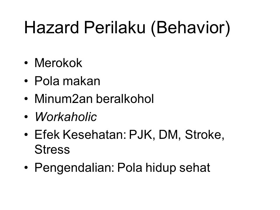 Hazard Perilaku (Behavior)
