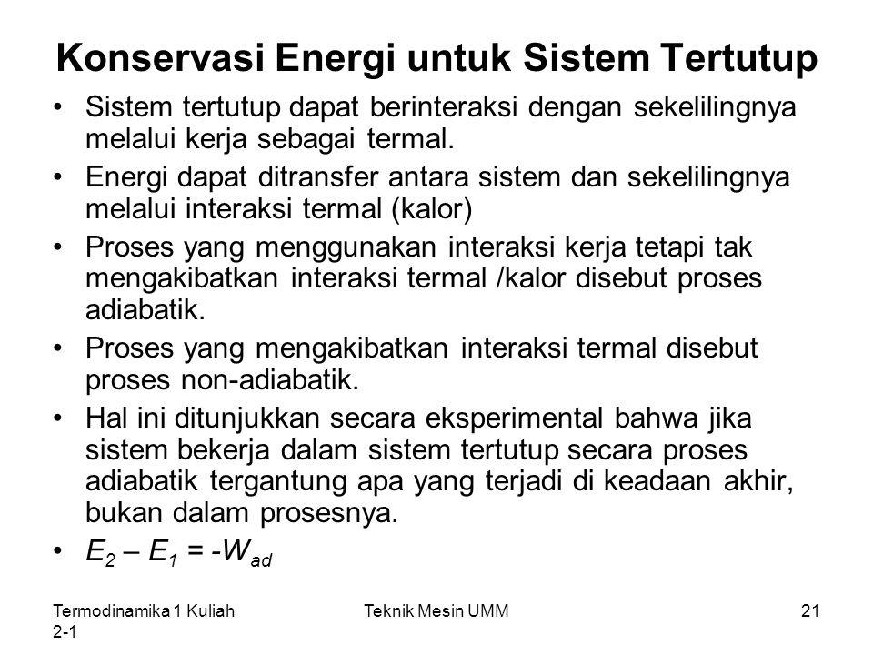 Konservasi Energi untuk Sistem Tertutup