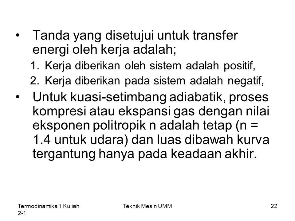 Tanda yang disetujui untuk transfer energi oleh kerja adalah;