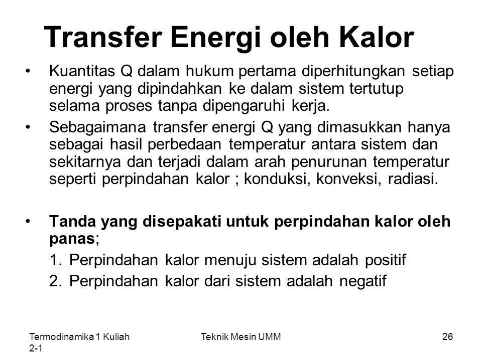 Transfer Energi oleh Kalor