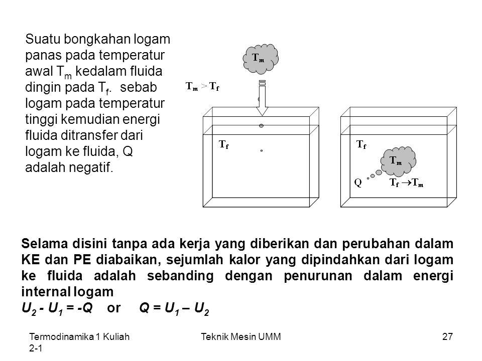 Suatu bongkahan logam panas pada temperatur awal Tm kedalam fluida dingin pada Tf. sebab logam pada temperatur tinggi kemudian energi fluida ditransfer dari logam ke fluida, Q adalah negatif.