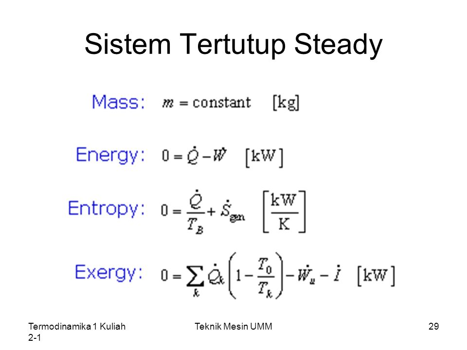 Sistem Tertutup Steady