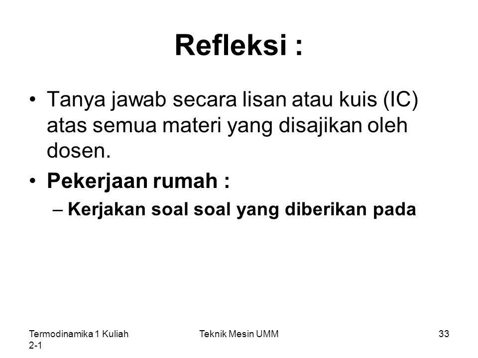 Refleksi : Tanya jawab secara lisan atau kuis (IC) atas semua materi yang disajikan oleh dosen. Pekerjaan rumah :
