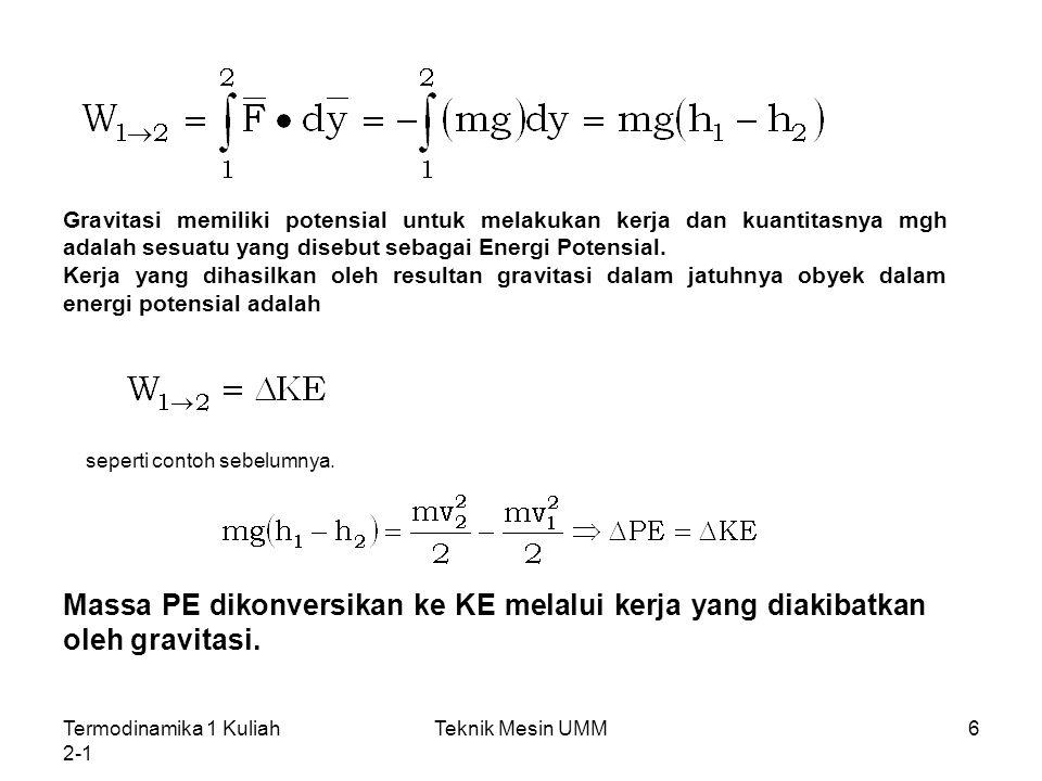 Gravitasi memiliki potensial untuk melakukan kerja dan kuantitasnya mgh adalah sesuatu yang disebut sebagai Energi Potensial.