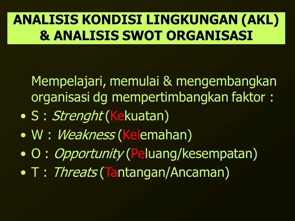 ANALISIS KONDISI LINGKUNGAN (AKL) & ANALISIS SWOT ORGANISASI