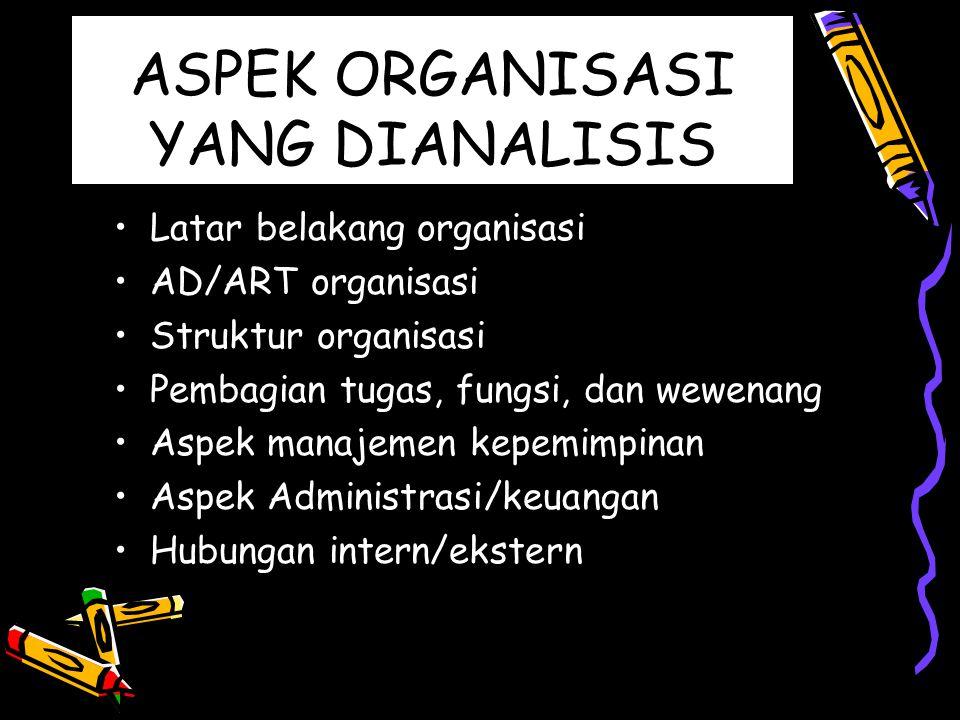 ASPEK ORGANISASI YANG DIANALISIS