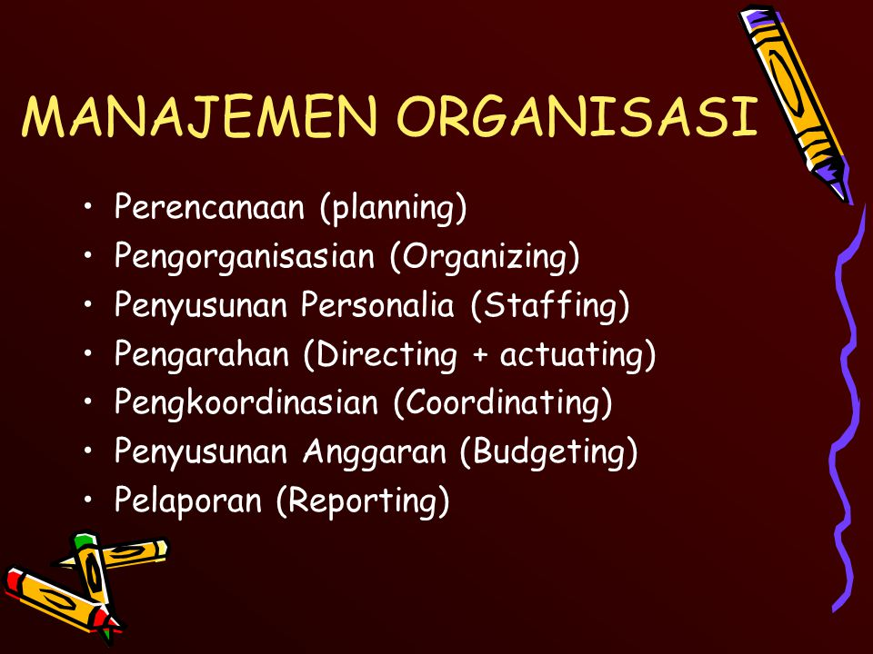 MANAJEMEN ORGANISASI Perencanaan (planning)