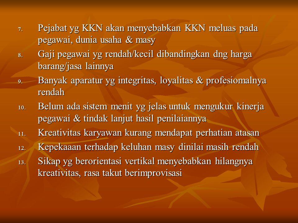 Pejabat yg KKN akan menyebabkan KKN meluas pada pegawai, dunia usaha & masy