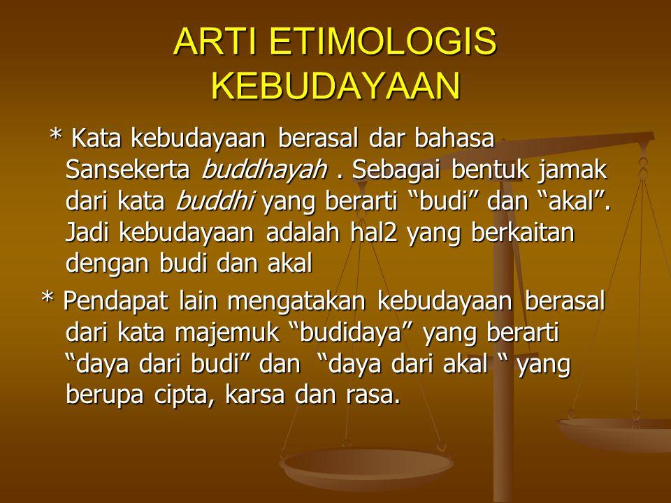 ARTI ETIMOLOGIS KEBUDAYAAN