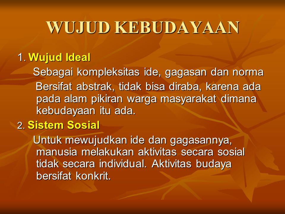 WUJUD KEBUDAYAAN 1. Wujud Ideal