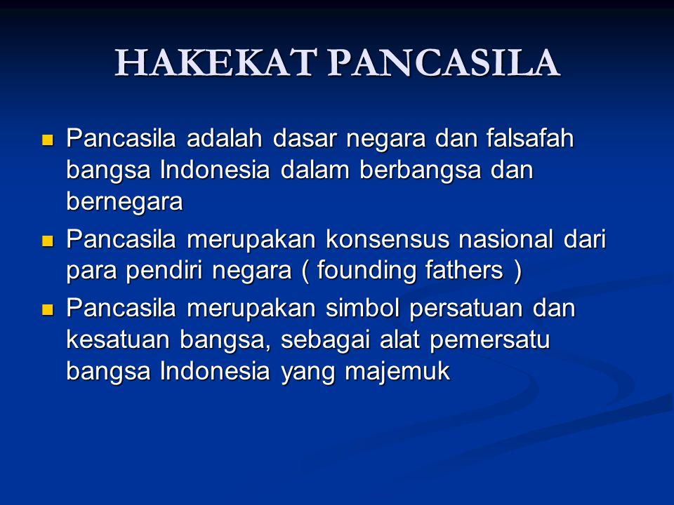 HAKEKAT PANCASILA Pancasila adalah dasar negara dan falsafah bangsa Indonesia dalam berbangsa dan bernegara.