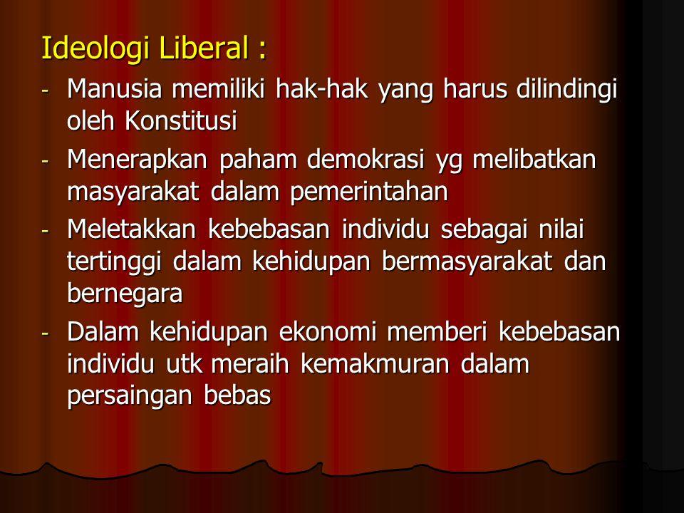 Ideologi Liberal : Manusia memiliki hak-hak yang harus dilindingi oleh Konstitusi.