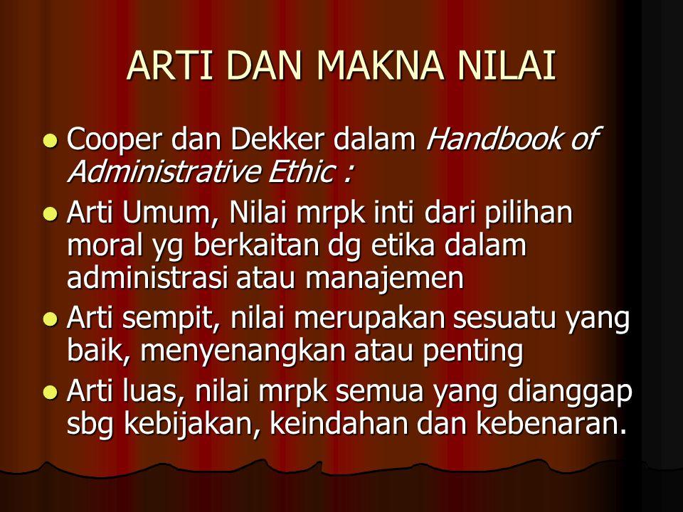 ARTI DAN MAKNA NILAI Cooper dan Dekker dalam Handbook of Administrative Ethic :