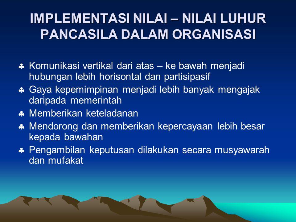 IMPLEMENTASI NILAI – NILAI LUHUR PANCASILA DALAM ORGANISASI