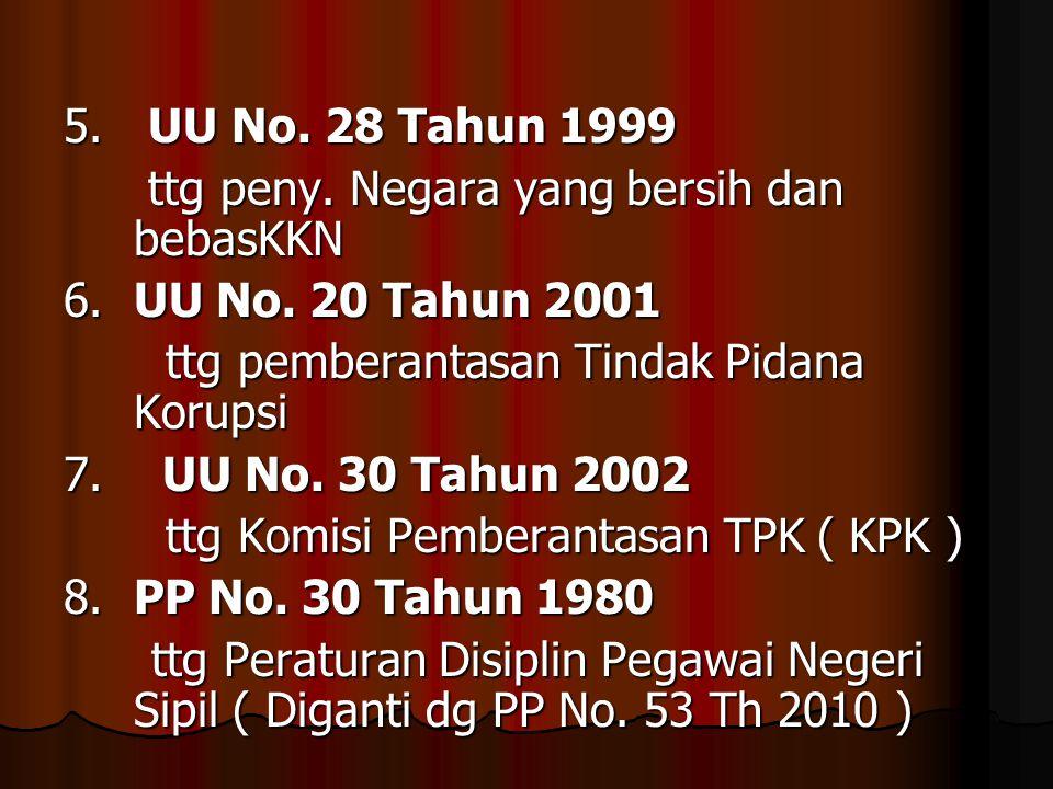 5. UU No. 28 Tahun 1999 ttg peny. Negara yang bersih dan bebasKKN. 6. UU No. 20 Tahun 2001. ttg pemberantasan Tindak Pidana Korupsi.