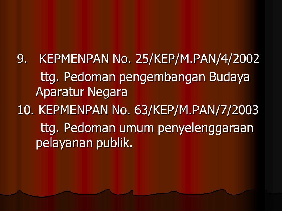 9. KEPMENPAN No. 25/KEP/M.PAN/4/2002