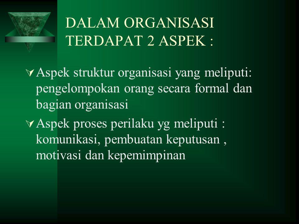DALAM ORGANISASI TERDAPAT 2 ASPEK :