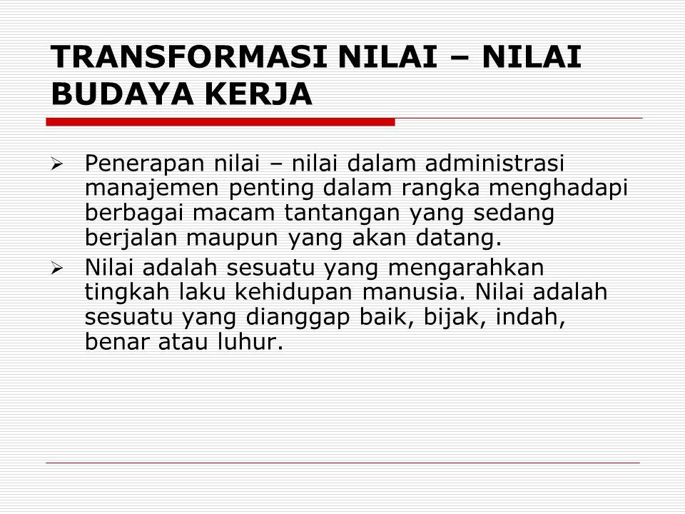 TRANSFORMASI NILAI – NILAI BUDAYA KERJA