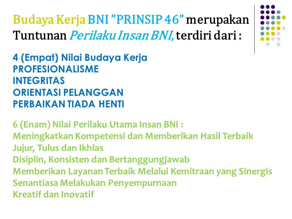 Budaya Kerja BNI PRINSIP 46 merupakan Tuntunan Perilaku Insan BNI, terdiri dari : 4 (Empat) Nilai Budaya Kerja