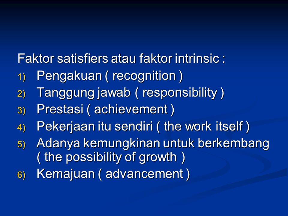 Faktor satisfiers atau faktor intrinsic :