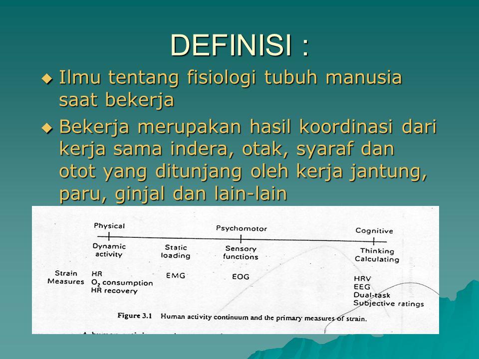 DEFINISI : Ilmu tentang fisiologi tubuh manusia saat bekerja