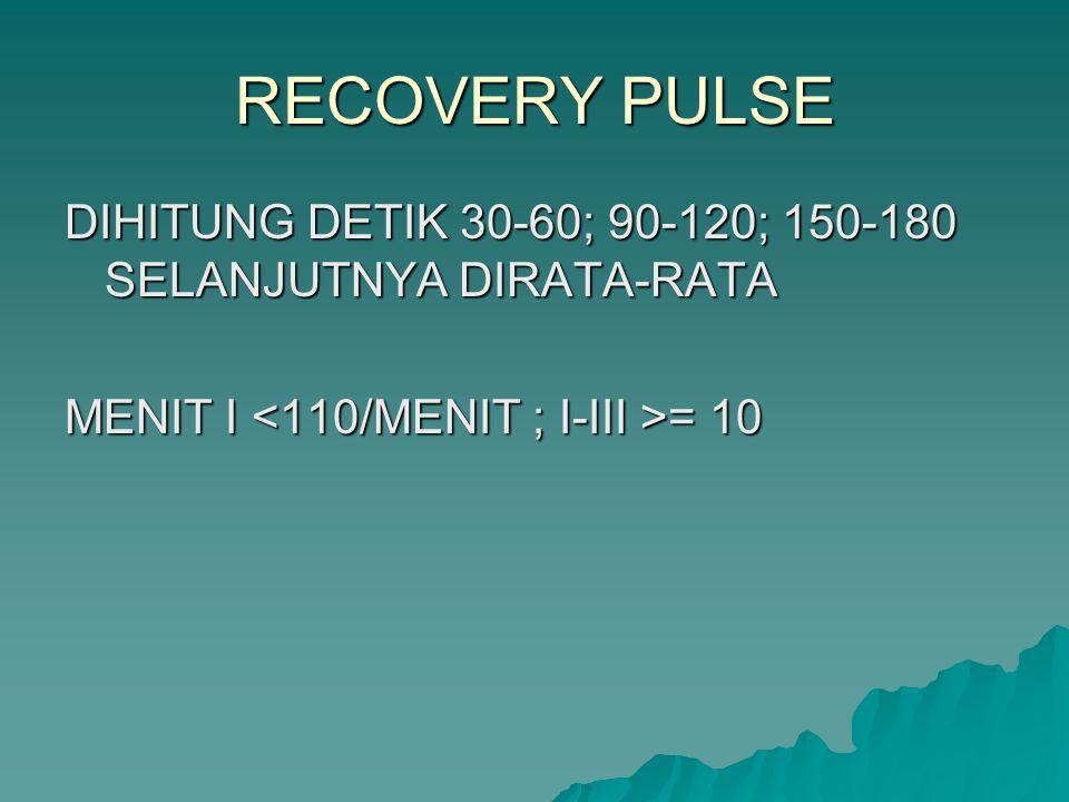 RECOVERY PULSE DIHITUNG DETIK 30-60; 90-120; 150-180 SELANJUTNYA DIRATA-RATA.