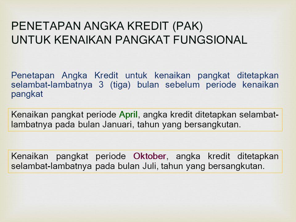 PENETAPAN ANGKA KREDIT (PAK) UNTUK KENAIKAN PANGKAT FUNGSIONAL