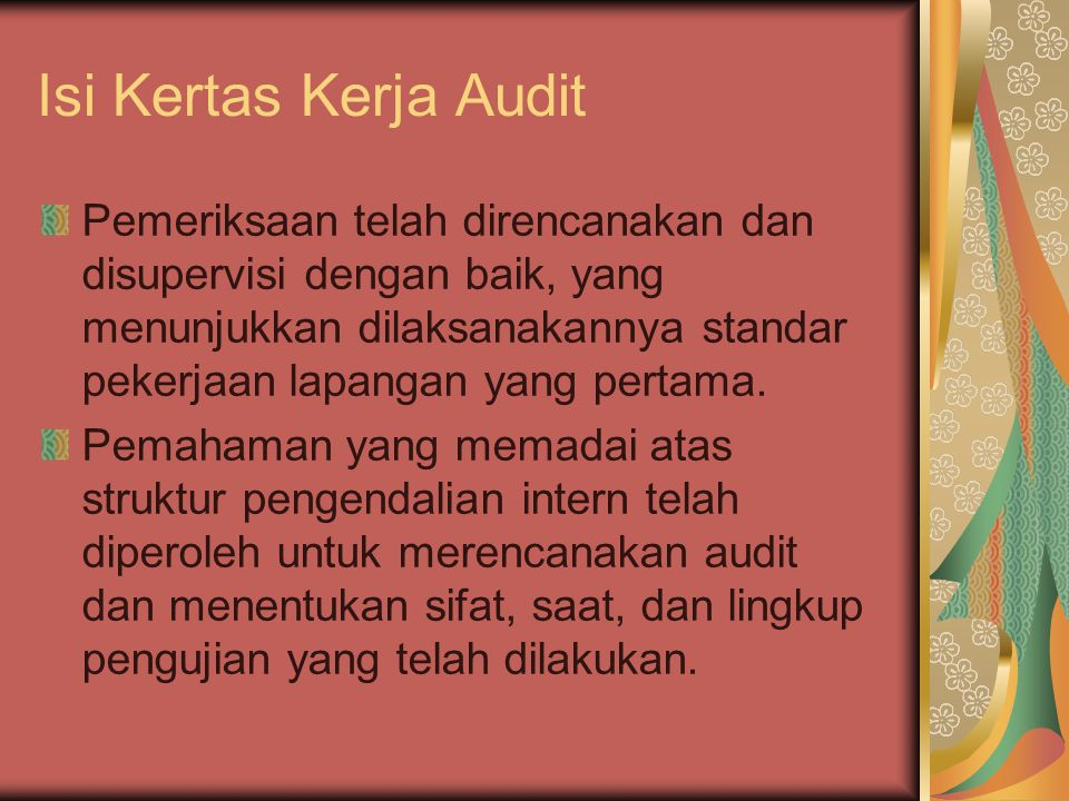 Isi Kertas Kerja Audit