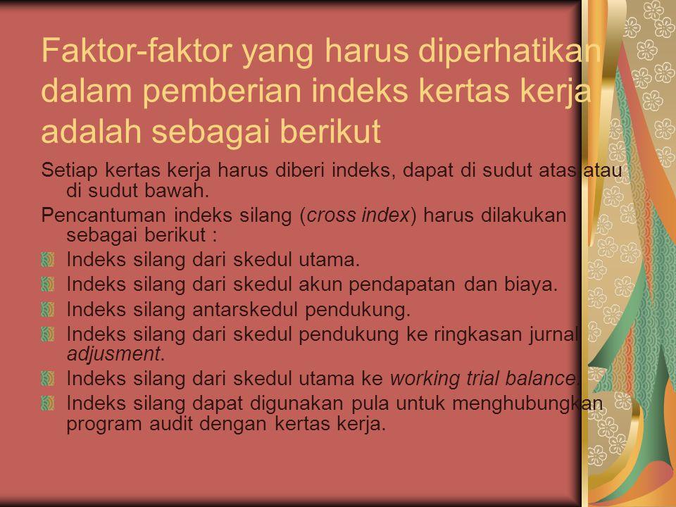 Faktor-faktor yang harus diperhatikan dalam pemberian indeks kertas kerja adalah sebagai berikut